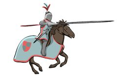 Knight at Medieval Knights Tournament. Vector Royalty Free Stock Image