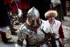 Knight on a medieval tournament. Medieval battle reconstruction Royalty Free Stock Image