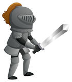 Knight in metal armour with sharp sword Stock Photo
