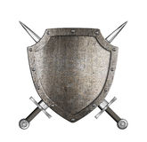 Knight metal shield with crossed swords coat of arms Royalty Free Stock Images