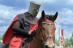Knight. Minsk, Belarus - June 18, 2016: Festival The Age of chivalry - mounted knights tournament Stock Photography