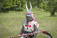 Knight. Minsk, Belarus - June 18, 2016: Festival The Age of chivalry - mounted knights tournament Stock Photos