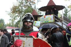 Knight in modern city Stock Images