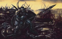 Knight monster armed with spear. Knight monster armed with spear in the background of the battlefield. Colorful picture in genre of fantasy vector illustration