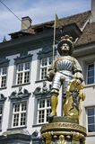 Knight monument. Monument of a knight and merchant, old town of Schaffhausen, Switzerland Stock Image