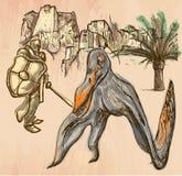 Knight nad Pterosaur (dragón) - línea arte, vector dibujado mano Imagenes de archivo