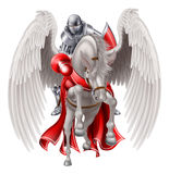 Knight on Pegasus Horse Royalty Free Stock Photo