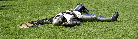 Knight playing dead Stock Photo