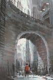 Knight a posição sob a ponte de pedra velha do arco ilustração stock