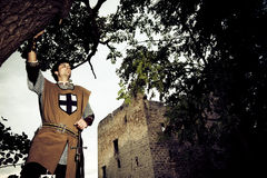 Knight Posing In Front Of A Fortress Ruin Stock Photography
