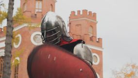 Knight posing  guard chivalry protection brave  power. Selfie stock video
