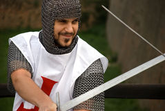 Knight practicing for battle Stock Photography