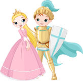 Knight and Princess. A cartoon illustration of a knight and a princess Stock Photo