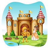 Knight and princess with castel. Illustration Royalty Free Stock Photography