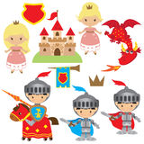 Knight, princess and dragon vector illustration Royalty Free Stock Photos