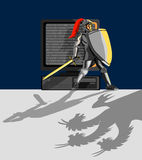 Knight protecting pc. Illustration on computer and internet security and protection vector illustration