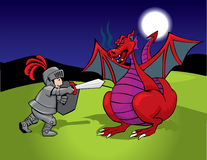 Knight and red dragon. Childish illustration of an armored kight fighting a red dragon at night Royalty Free Stock Photography