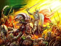 A knight rides a dragon on a crowd of orcs. Colourful picture in the genre of fantasy Stock Photos