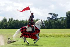 Knight riding horse in a field Royalty Free Stock Image