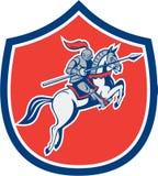 Knight Riding Horse Lance Shield Cartoon Stock Image