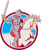Knight Riding Horse Sword Circle Cartoon Royalty Free Stock Photos
