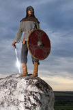 Knight  on a rock with a sword. Against blue cloudy sky Stock Image