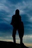 Knight. On a rock with a sword against blue cloudy sky Stock Images