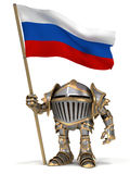 Knight with Russian flag Stock Image