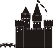 Knight's castle. Of black silhouette - isolated  illustration on white background Royalty Free Stock Photo