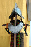 Knight's Gear. Iron helmet and collar similar to those worn my the Palace Gaurd during the renaissance period Royalty Free Stock Photo