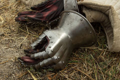 Knight's glove. Gauntlets during the reconstruction of the battle Stock Images