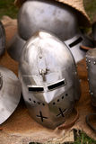 Knight's Helmet. Shining armor helmet knight lying on the skin of the deer during  the medieval festival Stock Images