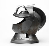 Knight's helmet. Image of a knight's metal helmet on a white background Royalty Free Stock Photos