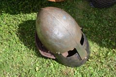 Medieval knight`s helmet with face guard visor, closeup. View Stock Images