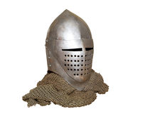 Knight's helmet and chainmail Stock Photography