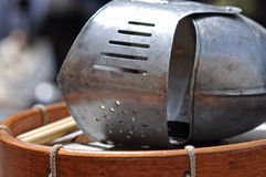 Knight's helmet and drum Royalty Free Stock Photography