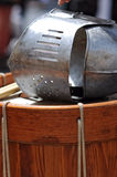Knight's helmet and drum. Military metal knight's helmet and wood drum Royalty Free Stock Images