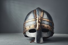 Knight`s helmet. On a gray background. Historical concept stock photo