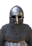Knight's helmet. Old knight helmet and chain mail for protection in battle. is made of metal. of knightly armor Royalty Free Stock Photography