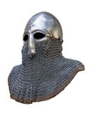 Knights helmet. Old knight helmet and chain mail for protection in battle. is made of metal. of knightly armor Royalty Free Stock Photos