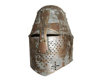 Knights helmet. Old knight helmet for protection in battle. is made of metal. part of knightly armor stock image