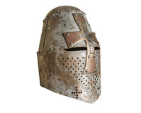 Knights helmet. Old knight helmet for protection in battle. is made of metal. part of knightly armor Stock Photography