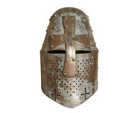 Knight's helmet. Old knight helmet for protection in battle. is made of metal. part of knightly armor royalty free stock images