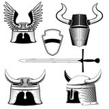 Knight's helmet, shield and sword Stock Images