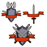 Set of medieval weapons and armor vector illustration