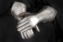 Knight's metal glove Stock Photos