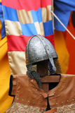 Knight's metal helmet Stock Photos