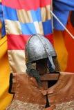 Knight's metal helmet. And waistcoat on medieval festival, Croatia Stock Photos