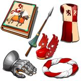 Knight`s set - book, hand in armour, royal dress, sword and other image. Six icons isolated. Vector in cartoon style Royalty Free Stock Photo
