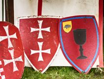 The Knight`s shield. Knight`s shield at the tournament royalty free stock image
